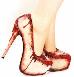 Zombie flesh blood and stitches platform heels. $140.00, via Etsy.