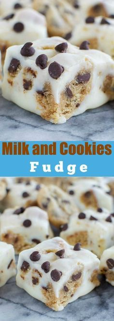 Milk and Cookies Fudge - No fail fudge loaded with chewy chocolate chip cookies! AMAZING!