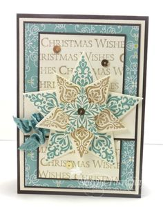 Stampin' Up! ... handmade Christmas card ... Bright and Beautiful stamped star in layers pooped up ... like the textured look for all of the intricate prints ... black mat lines make the background layers look sharp ... luv it!