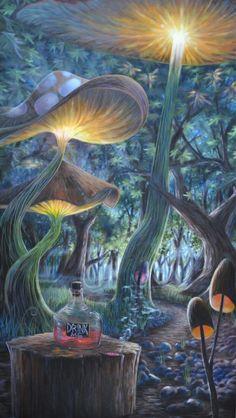 art trippy drugs lsd Halloween shrooms acid psychedelic Alice In Wonderland nature forest dmt