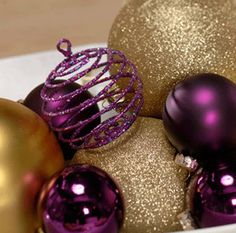 Purple and Gold ornaments for a bit of sparkle at a Christmas wedding