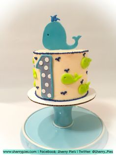 Whale 1st Birthday Cake and Smash Cake Baby Cakes Pinterest