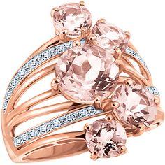 Morganite and Diamonds, 10k Rose Gold Ring