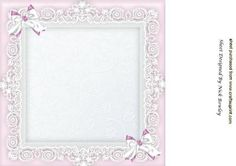 Lace frame with pink and white bows 8x8 insert on Craftsuprint - Add To Basket!