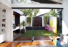 Victorian townhouse extension views from living to backyard