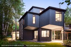 This beautiful contemporary house by the firm Dufour Ducharme Architects highlights our genuine wood siding. Wood Siding, Quebec City, Dufour, Shed, Exterior, Outdoor Structures, Clean Lines, House Styles, Designer