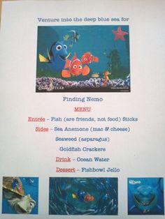 Disney Family Movie Night - Finding Nemo menu Disney Family Movies, Kid Movies, Movie Night For Kids, Family Movie Night, Disney Dinner, Disney Fun, Disney Menus, Kino Theater, Disney Countdown