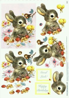 Meyercord Bunny decals from the & Adorable! Easter Crafts, Fun Crafts, Image 3d, Decoupage Printables, 3d Sheets, 3d Cards, 3d Prints, 3d Paper, Vintage Ephemera