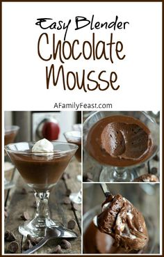 This Easy Blender Chocolate Mousse recipe is decadently delicious and takes just minutes to make!
