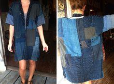 japanese boro jacket as a dress Boro Stitching, Japanese Textiles, Japanese Patchwork, Sashiko Embroidery, Jeans Fabric, Love Shirt, Sweater And Shorts, Denim Outfit, Kimono Fashion