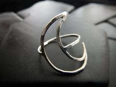 Sterling Silver Crescent Moon Ring  Lunar Ring  by GaiasCandy