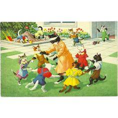 Max Kunzli Dressed Cats Postcard by Mainzer - Nursery School Playtime