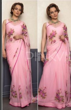 Baby pink orgenza digital printed casual wear bollywood style saree - Product : Designer Saree Saree Fabric: * Pure Orgenza With Digital print* Saree Size : Organza Saree, Chiffon Saree, Cotton Saree, Indian Dresses, Indian Outfits, Bollywood Fashion, Bollywood Style, Modern Saree, Sari Blouse Designs