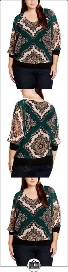 zizzi Z99704A, Blusa para Mujer, Grün (Green Gables Comb. 1592), 48  ✿ Blusas y camisas ✿