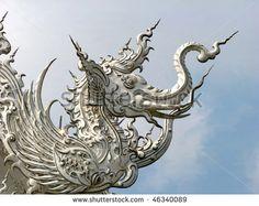 Mythical Flying Elephant at Chiang Rai's Wat Rong Khun, Thailand