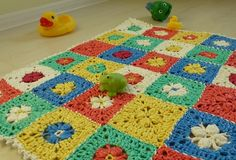 """AMAZING! Granny Square Bath Math made from plarn (plastic bag yarn). The complete video tutorial is done in double & triple time accompanied by Polka style Russian music and a """"follow-along animated chart"""". See for yourself"""