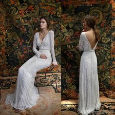 2016 Lihi Hod Beach Wedding Dresses Long Sleeves Deep V Neck Backless Bridal Gowns Luxury Crystal Wedding Dress The Wedding Dresses Vintage A Line Wedding Dresses From Manweisi, $303.27| Dhgate.Com