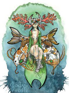 Pisces Art  Zodiac Android Art Koi Fish Ocean Art by CodyVrosh