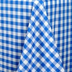 """Buffalo Plaid Tablecloths   90""""x156"""" Rectangular   White/Blue   Checkered Polyester Linen Tablecloth   eFavorMart Checkered Tablecloth, Tablecloth Sizes, Linen Tablecloth, Table Linens, Tablecloths, Blue Kitchen Curtains, Checker Design, Banquet Tables, How To Look Classy"""
