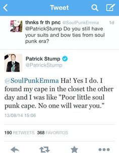 You little cutie << Are you kidding me?! I'd wear the cape. And not even cause its Patricks. Just cause its a fucking cape!