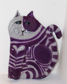 Gordito the Fat Cat Ceramic Cat Wall Decor by GinsLilCharacters  SOLD :-)
