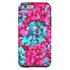 Funky Hot Pink Teal Mosaic Swirls iPhone 6 Case