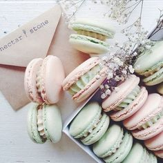 French macarons by Nectar and Stone Macarons, Macaron Cookies, Macaron Recipe, Fun Cookies, Sweet Desserts, Delicious Desserts, Yummy Food, Yummy Treats, Sweet Treats