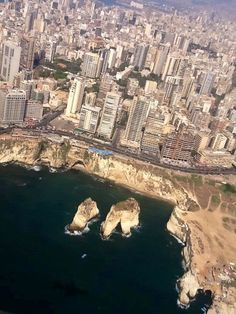 Beirut City and Pigeon Rocks, Lebanon
