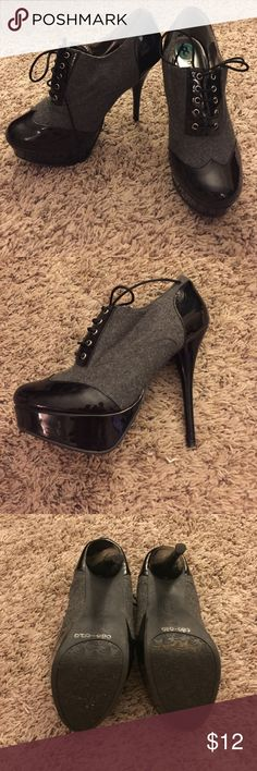 Black and Grey Lace Up Heels Worn once. These heels have minimal signs of wear. Bamboo Shoes Heels