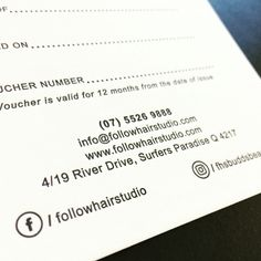 25o double sided one colour credit card sized business cards the letterpress printed gift certificates for follow hair studio printed by the love press brisbane reheart Image collections