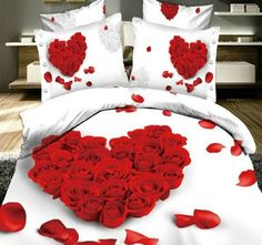wedding red rose heart bedding set queen size doona duvet cover bedsheets white Bed Linen bedclothes and pillowcases sets 3d Bedding Sets, Bed Comforter Sets, Girls Bedding Sets, Queen Bedding Sets, Comforter Cover, Bed Duvet Covers, Duvet Cover Sets, Blue Comforter, Girl Bedding