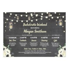 Bachelorette Bridal Shower Itinerary Fireflies Jar Card