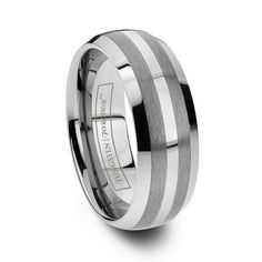 6mm or 8mm Round Polished Tungsten and Double Brushed Stripe Ring - PERSEUS