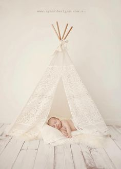 "Lace teepee. Banana j creations at down that little lane.     The ""Mini"" Lace Tee Pee is photo prop magic and perfect for newborn/toddler shoots.  If you have a older toddler, ..."