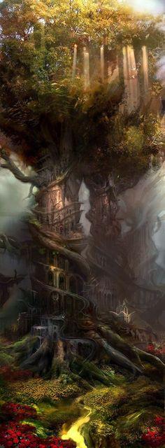 Fantasy - Elves Faeries Gnomes: A Faery tree Fantasy Places, Fantasy World, Fantasy City, Fantasy Castle, Fantasy House, Fairy Land, Fairy Tales, Fantasy Kunst, Wow Art