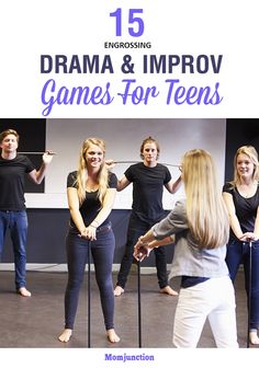 15 Engrossing Improv And Drama Games For Teens Here is an exhaustive list of improv and drama games for teens that will help to improve concentration, facial expression and modulation of voice. Read on! Drama Activities, Activities For Teens, Games For Teens, Improv Games For Kids, Drama Games For Kids, Group Activities, Therapy Activities, Theatre Games, Teaching Theatre