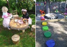 jeux de plein air pour enfants jouer-dînette-gué-troncs-multicolores