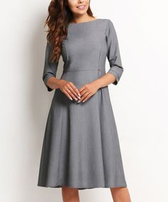 Another great find on #zulily! Gray Pleated A-line Dress #zulilyfinds