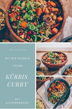 Kürbis-Curry mit Mie-Nudeln Foodblogger, Vegan, Winter, Chickpeas, Turmeric, Spinach, Pumpkin Curry, Pomegranate, Easy Meals