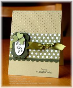 handmade card for St. Patrick's Day ... clean design ... muted greens ... shamrock ... Stampin' Up!