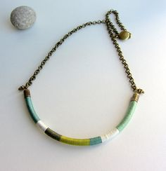 Ethnic tribal thread choker necklace, antique brass chain