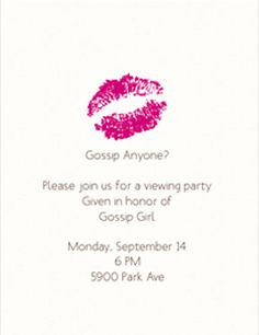Do two months seem like too long to wait for your next fix of Gossip Girl? Consider this: throw a premiere party! It takes time to put together a sophisticated event, so the sooner you start planning, the better your bash will be. With invites and. Festa Gossip Girl, Gossip Girl Party, Gossip Girls, Spa Birthday Parties, Birthday Party Themes, Birthday Stuff, Bachelorette Parties, Birthday Bash, Birthday Ideas