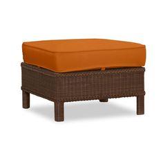 Palmetto All-Weather Wicker Ottoman Cushion Slipcover, Sunbrella® Tuscan