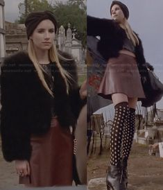 Madison�s black fur jacket, brown leather skirt, polka dot thigh socks and platform ankle boots on American Horror Story.  Outfit Details: http://wornontv.net/25209/ #AmericanHorrorStory