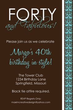 DIY Printable Invitation - Birthday Party, Birthday invitation, 40th Birthday Party Invitation, Adult Birthday Party. $11.00, via Etsy.