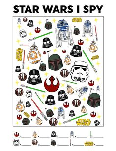Star Wars FREE Printable I Spy Game To Occupy The Kids Looking for the perfect Star Wars activity for your kids that will keep them occupied? Then this Star Wars free printable I Spy is it! Just print it out, grab a pen and you're all set. Spy Games For Kids, Indoor Games For Kids, I Spy Games, Spy Kids, Kids Party Games, Printable Games For Kids, Diy Games, Printable Star, Disney Games For Kids