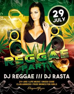 Free Reggae Party PSD Flyer Template…