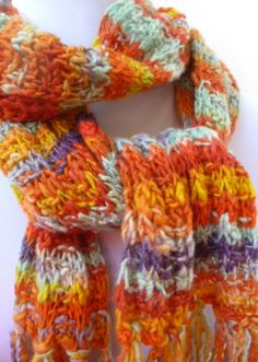Wool Scarf Hand Knit with Organic Yarn in by StitchesnQuilts, $55.00