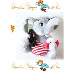 Peluche éléphant COCA-COLA bouteille maillot rayé peluche publicitaire  24 cm