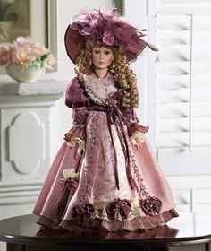 Victorian Porcelain Doll in Mauve Gown w/ Lace